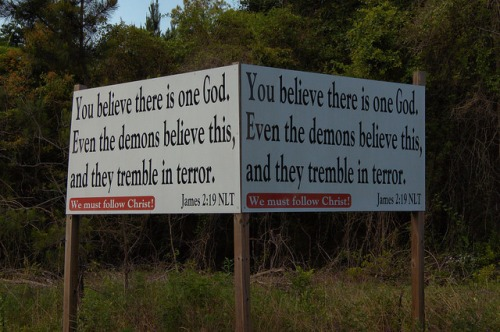 Roadside Religion Religious Sign China Hill GA Telfair County Book of James 2 19 Americana Southern Gothic Photograph Copyright Brian Brown Vanishing South Georgia USA 2014