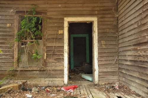 Screven County GA Abandoned Farmhouse Front Porch Wysteria Vines Trash Abandoned Photograph Copyright Brian Brown Vanishing South Georgia USA 2014