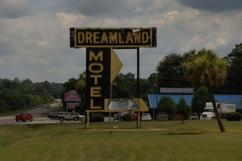 Sylvania GA Screven County Dreamland Motel Large Sign Photograph Copyright Brian Brown Vanishing South Georgia USA 2014