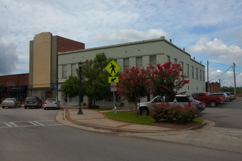 Sylvania GA Screven County Sylvia Theatre and Granitoid Office Building Town Square Photograph Copyright Brian Brown Vanishing South Georgia USA 2014