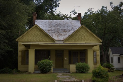 Sylvania GA Screven County Symmetrical Vernacular House Twin Shingle Dormers Chartreuse Photograph Copyright Brian Brown Vanishing South Georgia USA 2014