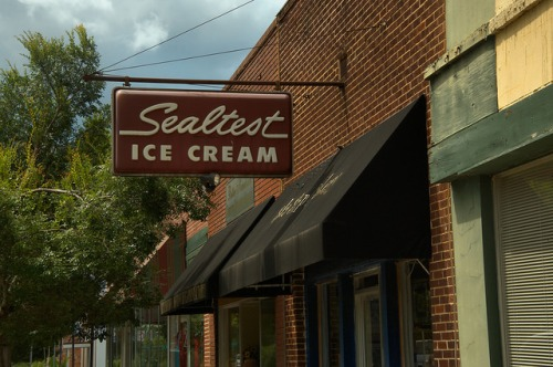 Sylvania GA Screven County Town Square Antique Sealtest Ice Cream Sign Soda Fountain Photograph Copyright Brian Brown Vanishing South Georgia USA 2014