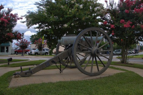 Sylvania GA Screven County Town Square Civil War Napoleon Cannon 1862 Photograph Copyright Brian Brown Vanishing South Georgia USA 2014