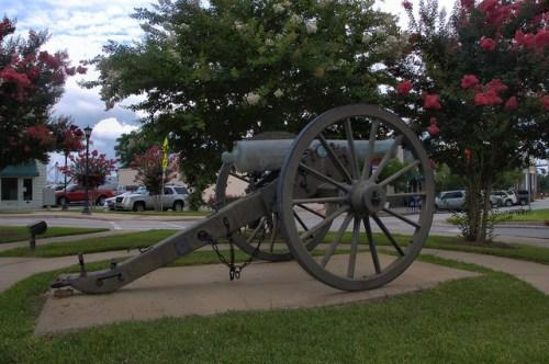 Sylvania GA Screven County Town Square Civil War Napoleon Cannon 1862 Photograph Copyright Brian Brown Vanishing South Georgia USA 2014