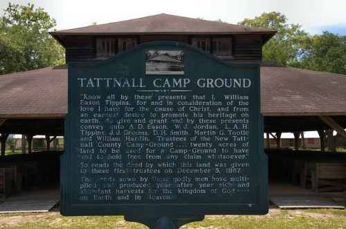 Tattnall County GA Campground Tabernacle Historic Marker Photograph Copyright Brian Brown Vanishing South Georgia USA 2014