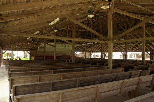 Tattnall County GA Campground Tabernacle Pews Photograph Copyright Brian Brown Vanishing South Georgia USA 2014
