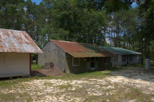 Tattnall County GA Campground Tents Vernacular Cabins Photograph Copyright Brian Brown Vanishing South Georgia USA 2014