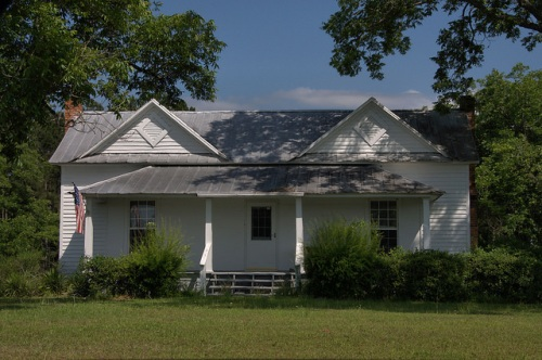 Telfair County GA White Clapboard Farmhouse Neoclassical Vernacular Architecture Photograph Copyright Brian Brown Vanishing South Georgia USA 2014