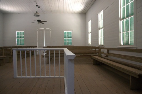 Wesleyanna Memorial Methodist Church Screven County GA 1870 Landmark Interior Pulpit Pews Utilitarian Preserved Photograph Copyright Brian Brown Vanishing South Georgia USA 2014