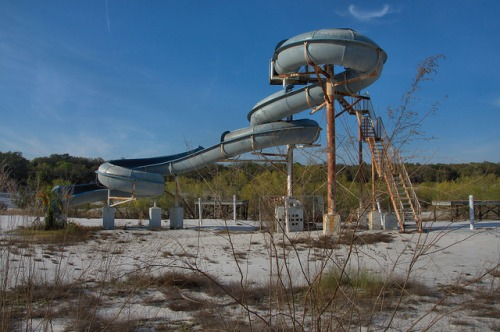 Crystal Lake GA Irwin County Abandoned Water Park Water Slide Photograph Copyright Brian Brown Vanishing South Georgia USA 2014