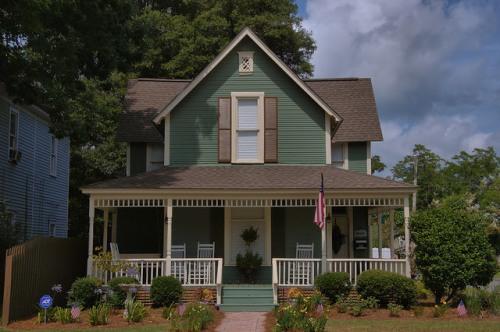 Fitzgerald GA Historic District Restored Folk Victorian T-House Main Street Photograph Copyright Brian Brown Vanishing South Georgia USA 2014