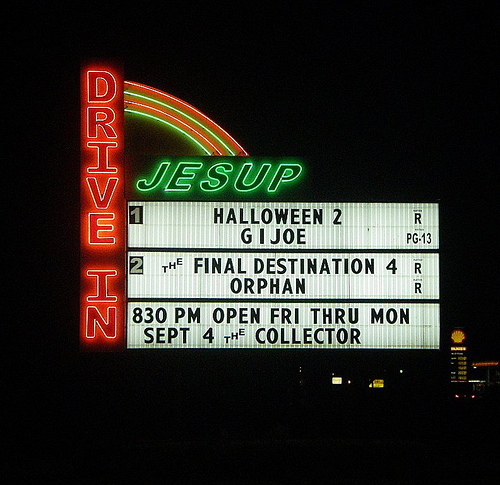 jesup drive in theatre theater movie wayne county ga marquee at night photograph copyright brian brown vanishing south georgia usa 2014