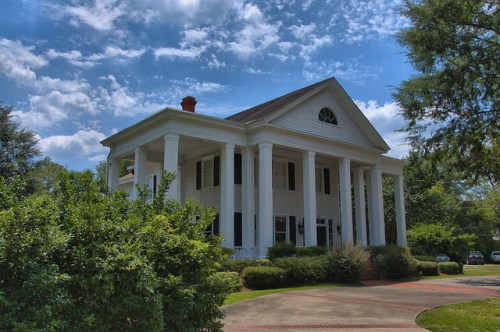 Jesup GA Wayne County Landmark House Neoclassical Architecture Square Doric Columns Fanlight Photograph Copyright Brian Brown Vanishing South Georgia USA 2014