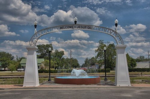 Jesup GA Wayne County Old Town Arch Welcome to Jesup Photograph Copyright Brian Brown Vanishing South Georgia USA 2014