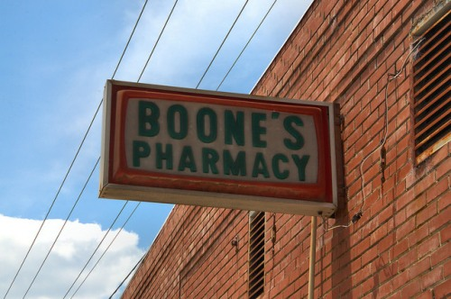 Pearson GA Atkinson County Boone's Pharmacy Sign Photograph Copyright Brian Brown Vanishing South Georgia USA 2014
