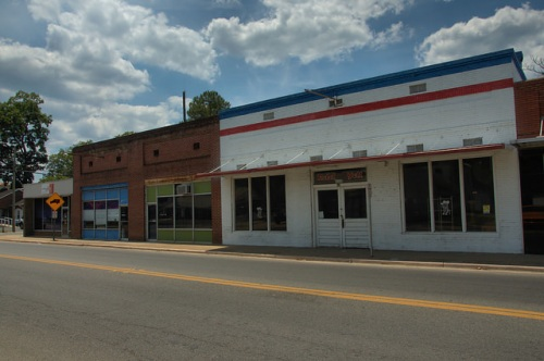 Pearson GA Atkinson County Downtown Storefronts Rebel Yell Gameroom Photograph Copyright Brian Brown Vanishing South Georgia USA 2014