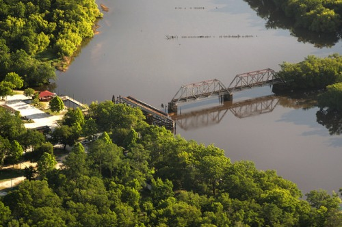 Altamaha RIver Aerial Everett City Glynn Couty GA Railroad Trestle Altamaha River Park Photograph Copyright Brian Brown Vanishing South Georgia USA 2014