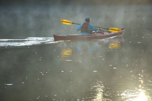 Canoe on the Altamaha River Early Morning Fog Wayne County GA Photograph Copyright Brian Brown Vanishing South Georgia USA 2014
