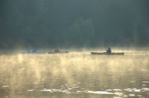 Canoes and Kayaks on the Altamaha River Wayne County GA Fog Paddle Sports Photograph Copyright Brian Brown Vanishing South Georgia USA 2014
