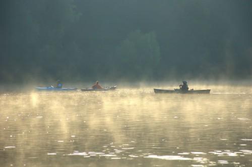Canoes and Kayaks on the Altamaha River Wayne County GA Fog Paddle Sports Photograph Copyright Brian Brown Vanishing South Georgia USA 2014