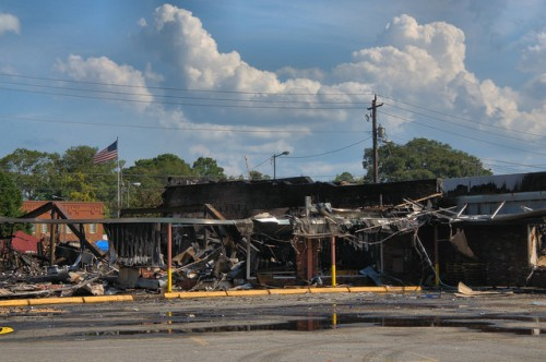 Jesup Fire Damage from Parking Lot By Davids Clothing Store Photograph Copyright Brian Brown Vanishing South Georgia USA 2014