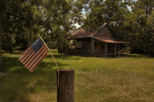 Kirkland GA Atkinson County Old Store American Flag Photograph Copyright Brian Brown Vanishing South Georgia USA 2014