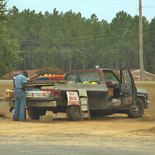 Newton GA Truck Farmer Hot Boiled Peanuts Watermelons Tomatoes Sweet Potatoes Photograph Copyright Brian Brown Vanishing South Georgia USA 2014