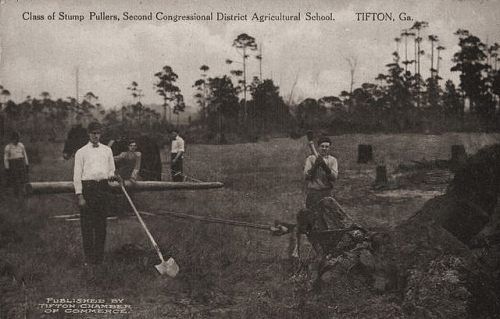 Tifton GA Antique Postcard Class of Stump Pullers ABAC 2nd District Ag School Collection of Brian Brown Vanishing South Georgia USA 2014