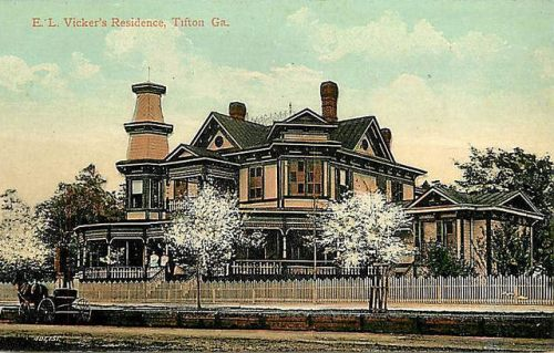 TIfton GA Antique Postcard E L Vickers House Collection of Brian Brown Vanishing South Georgia USA 2014