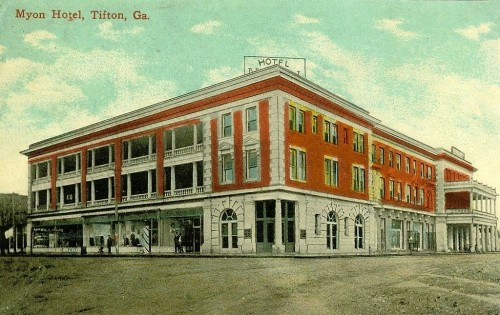 Tifton GA Antique Postcard Myon Hotel Collection of Brian Brown Vanishing South Georgia USA 2014