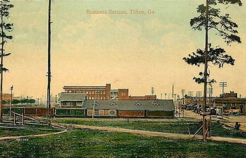 Tifton GA Early View of Downtown Business Section Antique Postcard Collection of Brian Brown Vanishing South Georgia USA 2014