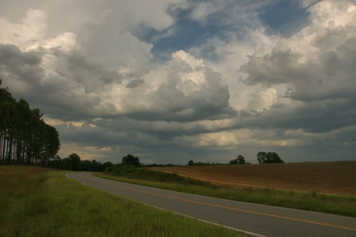 Salem Church Road Ben Hill County Country Road Late Summer Storm Clouds Photograph Copyright Brian Brown Vanishing South Georgia USA 2014