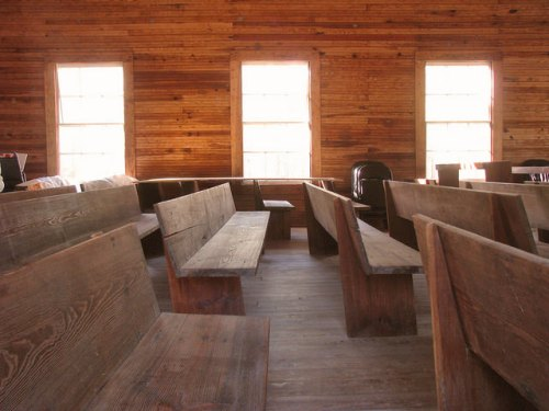 Atkinson County GA Historic Salem Church Interior Handhewn Pews Tongue and Groove Walls Unadorned Photograph Copyright Brian Brown Vanishing South Georgia USA 2014