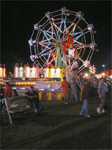 Jesup Jaycees Fair Midway Ferris Wheel Dixieland Carnival Company 2009 Photograph Copyright Brian Brown Vanishing South Georgia USA 2014