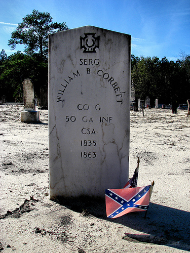 Mount Olive Mud Creek Primitive Baptist Church Cemetery Confederate Iron Cross Sergeant William B Corbett Co G 50 Ga Inf Photogaph Copyright Brian Brown Vanishing South Georgia USA 2014