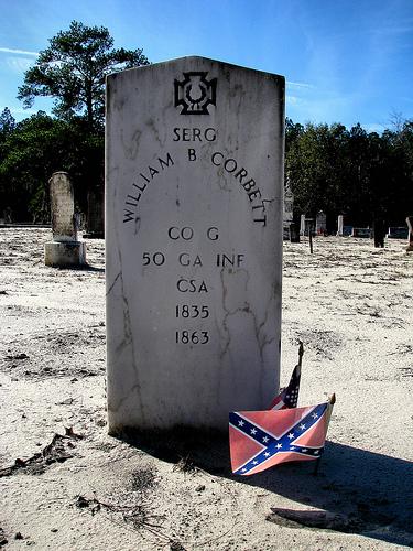 Mount Olive Mud Creek Primitive Baptist Church Cemetery Confederate Iron Cross Sergeant William B Corbett Co G 50 Ga Inf Photogaph Copyright Brian Brown Vanishing South Georgia USA 2014