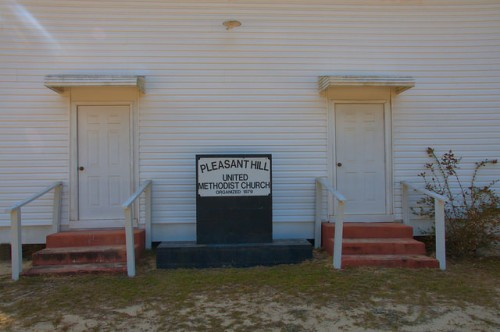 Pleasant Hill United Methodist Church Bulloch County GA Portal Area Gender Segregated Front Doors Photograph Copyright Brian Brown Vanishing South Georgia USA 2014