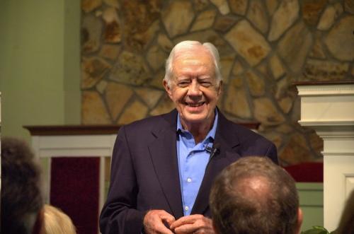 President Jimmy Carter 90th Birthday Teaching Sunday School Plains Georgia Maranatha Baptist Church in 2012 Copyright Brian Brown Vanishing South Georgia USA 2014