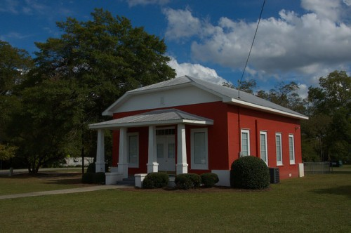 Twin City GA Unidentified School or Chapel Red Painted Brick Photograph Copyright Brian Brown Vanishing South Georgia USA 2014