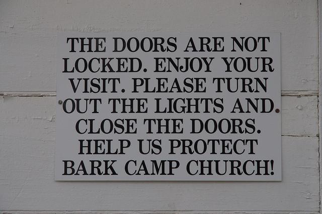 Bark Camp Baptist Church Burke County GA Landmark Sign Open to All Photograph Copyright Brian Brown Vanishing South Georgia USA 2014