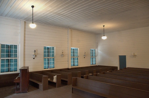 Historic Bark Camp Baptist Church Burke County GA Interior View Photograph Copyright Brian Brown Vanishing South Georgia USA 2014