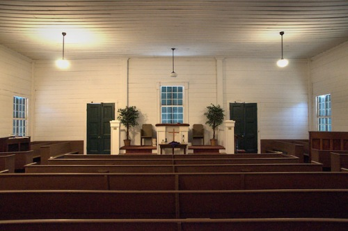 Historic Bark Camp Baptist Church Burke County GA Interior View Pulpit Photograph Copyright Brian Brown Vanishing South Georgia USA 2014