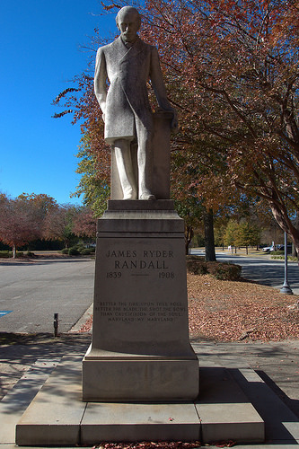James Ryder Randall Statue Augusta GA Greene Street Maryland My Maryland Poet of the Lost Cause Photograph Copyright Brian Brown Vanishing South Georgia USA 2014