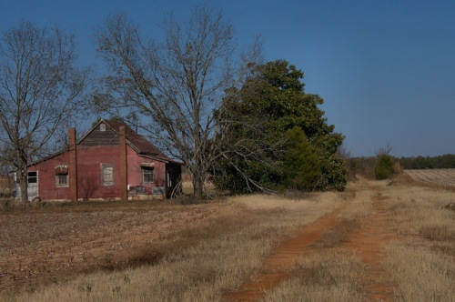 Jefferson County GA Abandoned Red Farmhouse Dirt Road Photograph Copyright Brian Brown Vanihsing South Georgia USA 2014