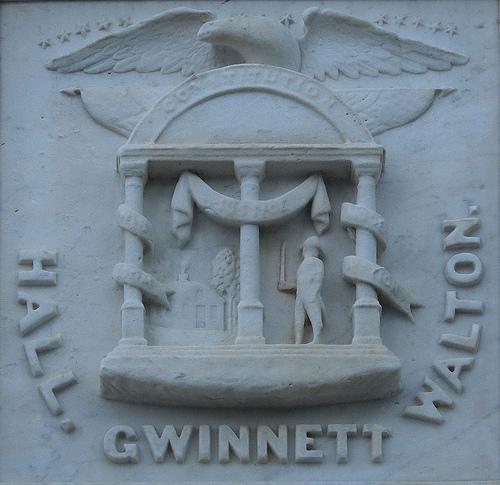 Signers Monument Augusta GA Lyman Hall George Walton Button Gwinnett Photograph Copyright Brian Brown Vanishing South Georgia USA 2014