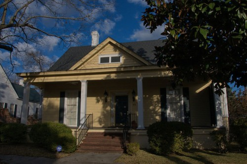 Waynesboro GA Historic District Yellow Neoclassical Cottage Photograph Copyright Brian Brown Vanishing South Georgia USA 2014