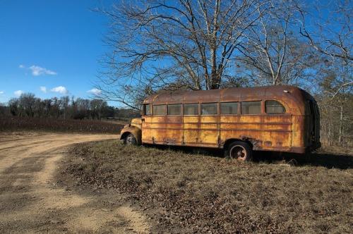 Studebaker School Bus Bluebird Body Late 1940s Ben Hill County GA Photograph Copyright Brian Brown Vanishing South Georgia USA 2014