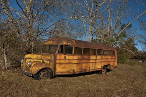 Studebaker School Bus Bluebird Body Relic Late 1940s Ben Hill County GA Photograph Copyright Brian Brown Vanishing South Georgia USA 2014