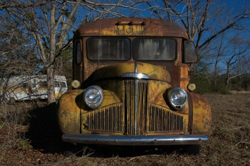 Studebaker School Bus Grill Front End Bluebird Body Late 1940s Ben Hill County GA Photograph Copyright Brian Brown Vanishing South Georgia USA 2014