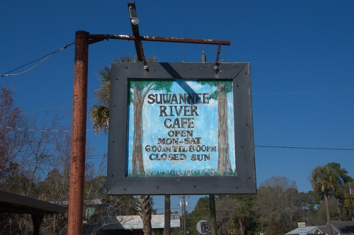 Fargo GA Suwannee River Cafe Sign Photograph Copyright Brian Brown Vanishing South Georgia USA 2015